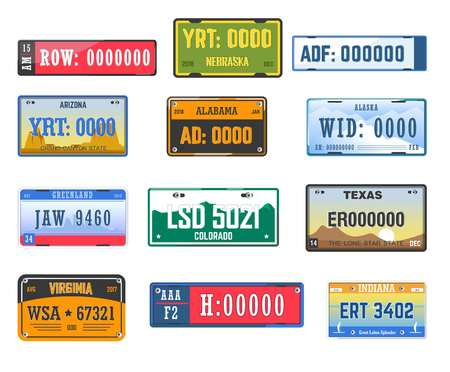 Car numbers plates vehicle license American states or districts vector Nebraska and Arizona Alabama and Alaska digits and letters transport registration automobile signboard Greenland and Colorado.