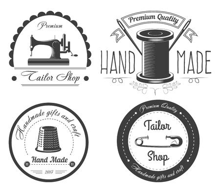 Premium handmade clothes in tailor shop logotypes set Logo