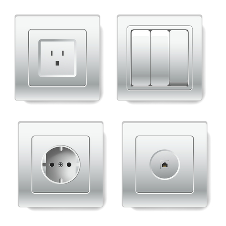 Sockets with different number of slots types depending on standards Stock Illustratie