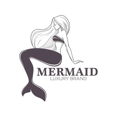 Mermaid marine brand isolated monochrome icon girl with fishtail Illustration