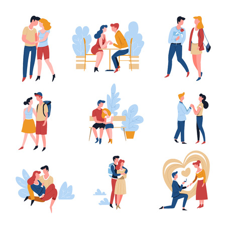 Dating couples relationship and marriage romantic date love story vector man and woman park walking and sitting on bench proposal and engagement hug and holding hands boyfriend and girlfriend cafe.