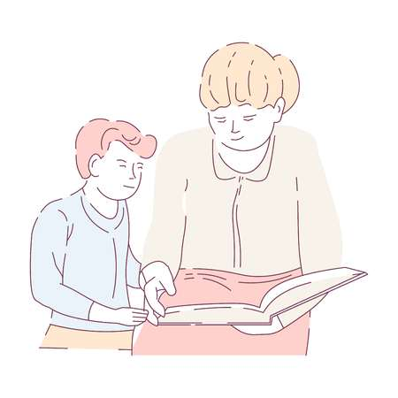 School homework mother and son reading book isolated characters vector home task literature story or novel education and knowledge family parent assistance child or kid learning subject textbook.
