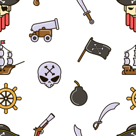 Pirate seamless pattern piracy skull and bones ship and cannon vector flag marine criminal sword and vessel gun or pistol steering wheel endless texture nautical symbols sea adventure traveling. Illustration