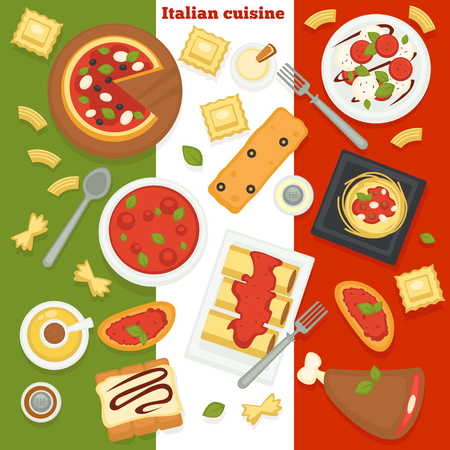 Italian cuisine pizza and pasta Italy food dishes