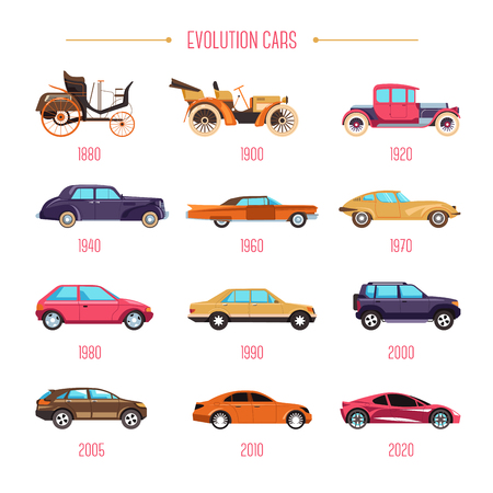 Cars evolution retro vehicles and modern transport isolated models vector transportation automobile industry history motorcar development classic and sport types mechanic and automotive control Illustration