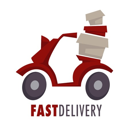Fast delivery isolated icon moped with boxes or parcels Ilustración de vector