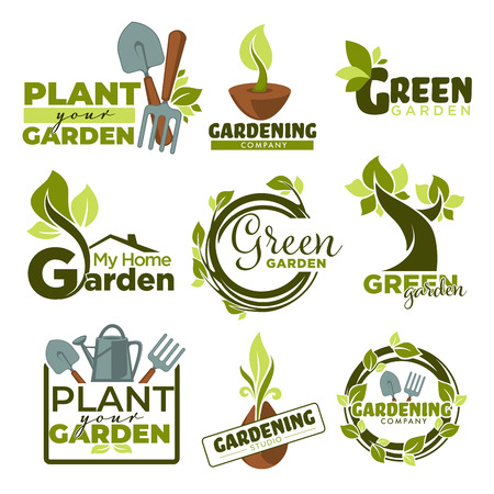 Green garden isolated icons gradening tools and plants