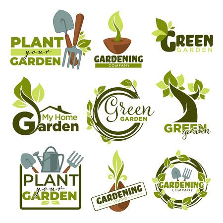 Iconos aislados de jardín verde gradening herramientas y plantas
