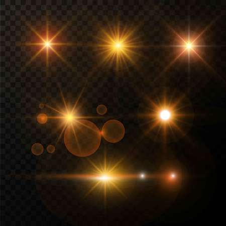 Bagliore di luce dorata ed effetto di luce brillante delle stelle