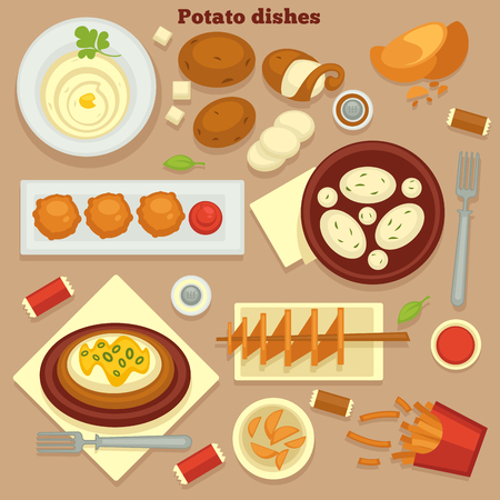 Homemade and fast food meals potato dishes root vegetable vector mashed or country potatoes and chips draniki and pie french fries ketchup salt and pepper fork and plates cuisine and cooking.