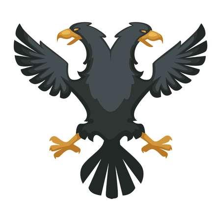 Double eagle heraldic Byzantium symbol wing and beak black feathers