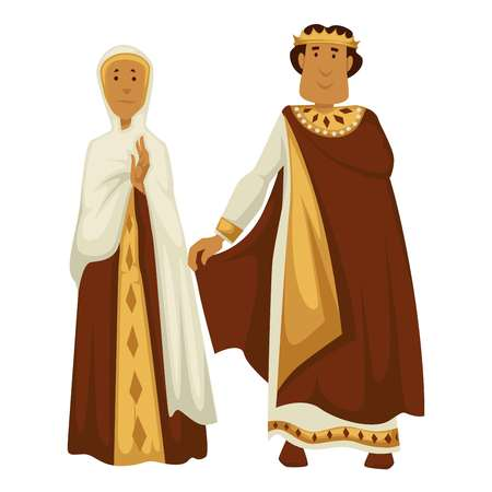 Byzantium emperor and empress crown and shawl isolated characters Illustration