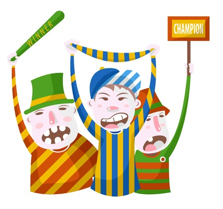 Football or sport fans in striped clothing with bat scarf and signboard vector cheering up team aggressive caricature characters in symbolic outfits game or tournament viewer championship spectators. Ilustração