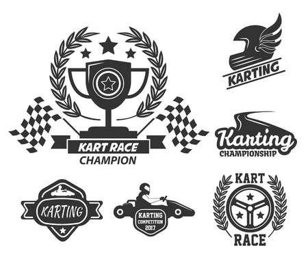 Deporte de conducción extrema de carreras de karts aislado iconos monocromos