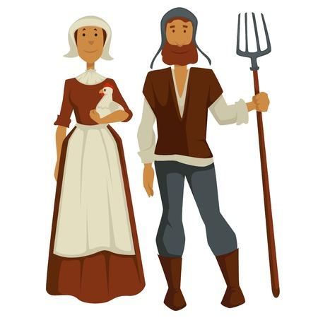 Les paysans médiévaux famille homme et femme personnages isolés vecteur femme en robe et tablier tient poulet ou poule et mari avec fourches anciens agriculteurs ou ouvriers agricoles villageois ou ruraux.
