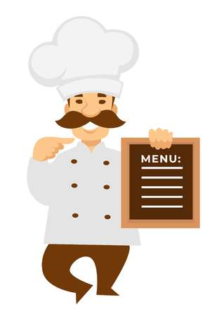 Chef or baker with restaurant or cafe menu cook in uniform