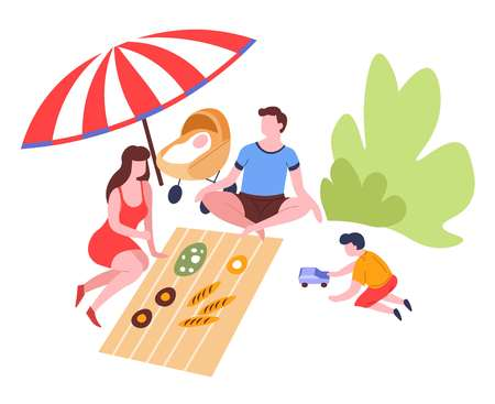 Outdoor summer activity family on picnic eating food under umbrella vector mother and father son and newborn baby in pram park meadow leisure pastime weekend parents and children snacks and blanket.