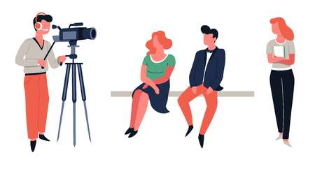 Show hosts and cameraman TV show shooting or filming vector girl and guy sitting on bench screenwriter and operator television program broadcasting backstage video camera and woman with scenario. Stockfoto - 123969869