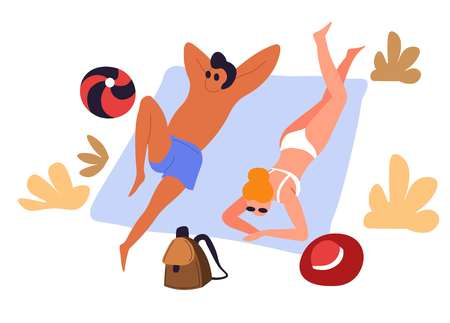 Travelers in swimwear couple sunbathing on blanket at beach vector man and woman lying under sun inflatable ball and hat backpack and sunglasses vacation and holidays seaside tourism and traveling.