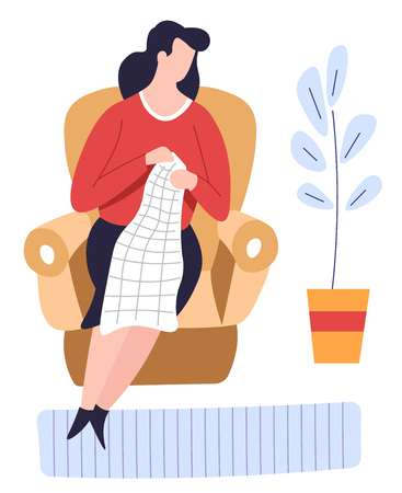 Hobby and leisure pastime knitting woman in armchair with needles vector woolen scarf girl creating handmade clothes craft threads furniture chair and carpet indoor plant recreation crafted knitwear. Illustration