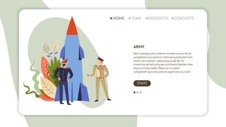 Army Internet web page soldiers in uniform and rocket or missile