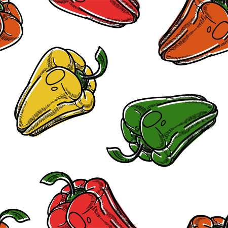 Red green and yellow sweet pepper vegetables seamless pattern vector isolated on white background different kinds of veggie colored fruits ingredients for meals and dishes uncooked production. Ilustração
