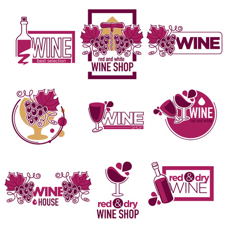 Red and dry wine tasting place to drink wine logos Logo