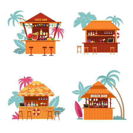 Juice bar and place to buy alcoholic beverage tropics style vector isolated set of bungalow for clients to drink tropical sweet cocktail palms trees and signs bottles and lifebuoy decor on counter. 矢量图像