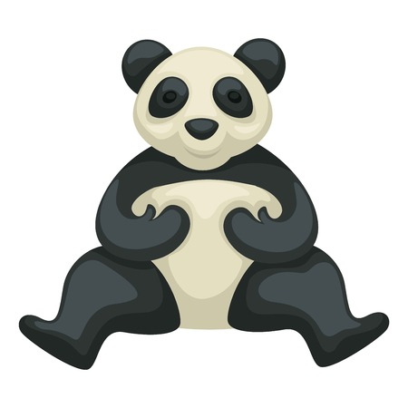 Chinese symbol panda bear isolated rare animal wildlife vector travel to China wild species black and white fur mammal bamboo forest dweller zoology tourism and traveling Oriental country exploration.