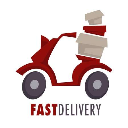 Moped with boxes or parcels fast delivery service isolated icon vector food and post transportation vehicle or scooter cardboard containers emblem or logo goods order express service mail and postage.