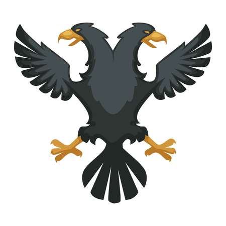 Byzantium heraldic symbol black double eagle wings and beak black feathers vector isolated bird hawk with two heads ancient empire heraldry mythical creature legendary beast fantastic animal.