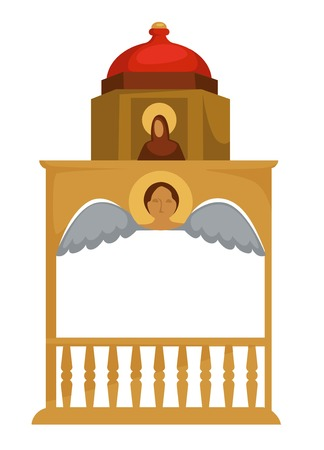 Gold well Byzantium architecture with icon and angel church element vector Christian religion and history ancient construction heritage golden fence and dome with arch Christianity antique age. Illustration