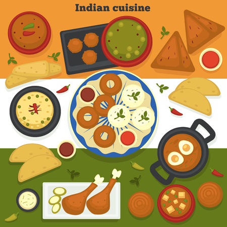 India food Indian cuisine meat and bakery products vector curry chicken drumsticks and fried eggs breakfast samosa and soup donuts and paneer cheese chili sauces jalebi dish national meals and flag. Stock Vector - 120618234