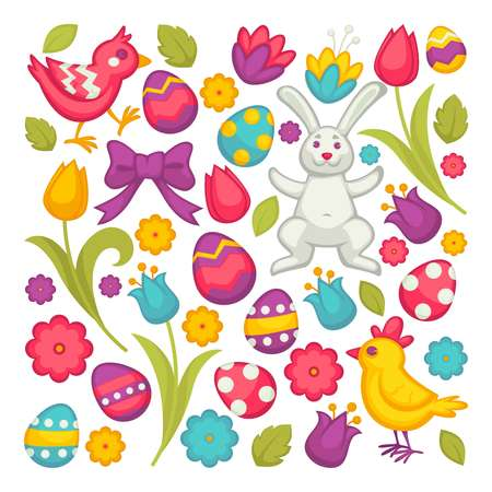 Chicken and bunny eggs and tulips Easter religious holiday vector flowers and festive symbols 矢量图像