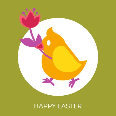 Christian holiday symbols Happy Easter eggs and chicken vector bird