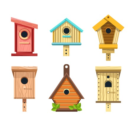 Wooden birdhouses vector isolated icons nesting boxes to hang on tree small buildings of planks with hole and green leaves constructions to feed birds cartoon rectangular and triangular shapes.  イラスト・ベクター素材
