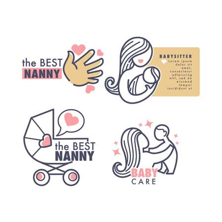 Babysitter agency nanny service isolated emblems baby care vector child palm woman and newborn Ilustración de vector