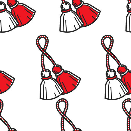 Travel to Bulgaria Bulgarian symbol red and white tassels seamless pattern vector martenitsa national colors endless texture Baba marta holiday spring beginning ritual tradition and custom wallpaper.