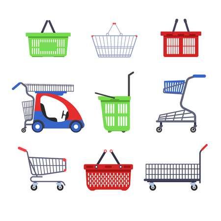 Zakupy supermarket wózki lub wózki i kosze pojemnik na kołach wektor pusty wózek z uchwytem rynku lub sklep spożywczy sklep spożywczy i hurtowy zakup i zakup transportu.