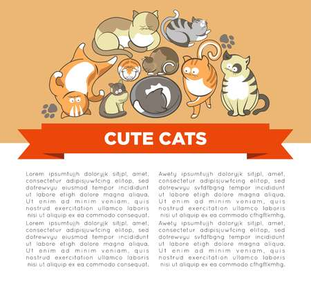 Cute cats with big eyes in sleepy or playful poses vector pets or domestic animals ginger and grey kittens with spots Фото со стока - 120618491