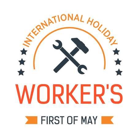 Schraubenschlüssel in der Hand Tag der Arbeit isolierte Ikone Erster Mai Vektor-Frühlingsereignis-Emblem oder Logo-Ingenieur und Auftragnehmer