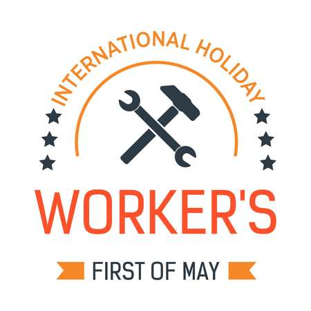 Wrench in hand Labour day isolated icon First of May vector spring event emblem or logo engineer and contractor