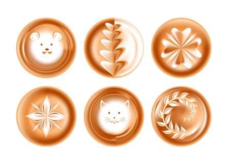 Dessin en mousse ou image café boisson énergétique présentation créative icônes vectorielles isolées coeur et visage motifs floraux souris et chat de fleur et feuilles de boisson avec des museaux d'animaux café ou bar.