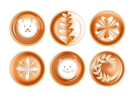 Foam drawing or picture coffee energetic drink creative presentation isolated vector icons heart and face floral patterns mouse and flower cat and leaves beverage with animal muzzles cafe or bar.