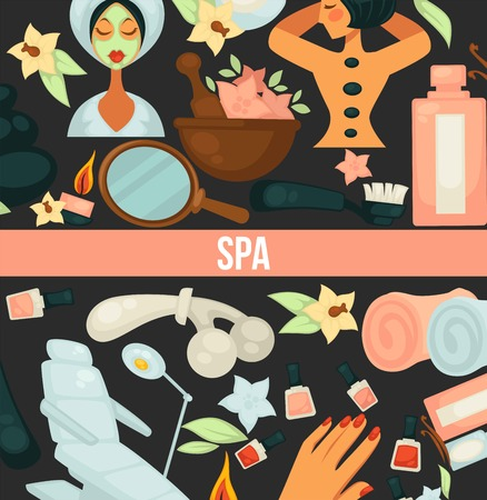 Spa center poster with text and items for relaxation vector. Procedures with hot steam, cosmetic body healthcare, woman with cucumber mask on face, towels oils for skin regeneration and rejuvenation Illustration