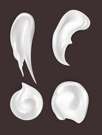 Skincare cream smear cosmetics and makeup gel or lotion vector moisturizer smudge cosmetic product beauty