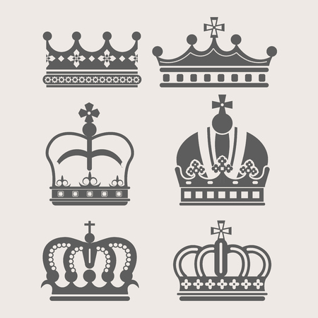 King or Queen crown royalty accessory or headdress vector power monochrome symbol treasure 일러스트