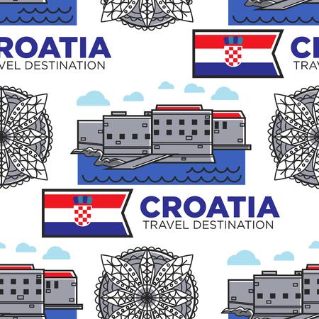Croatia travel destination seamless pattern architecture and flag Vektorgrafik