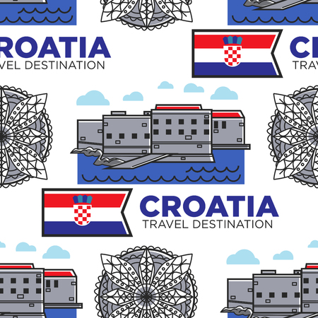 Croatia travel destination seamless pattern architecture and flag