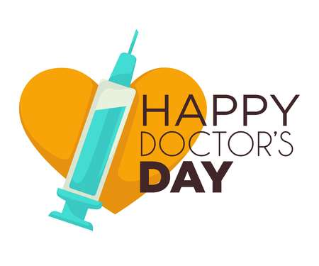 Happy doctors day isolated icon syringe and heart